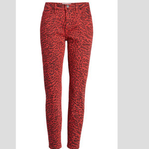 Current/Elliott red Leopard Skinny Jeans 24